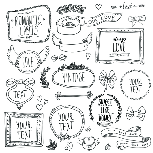 ea056670e571 Hand drawn romantic frame with ornaments elements vector 01 free ...