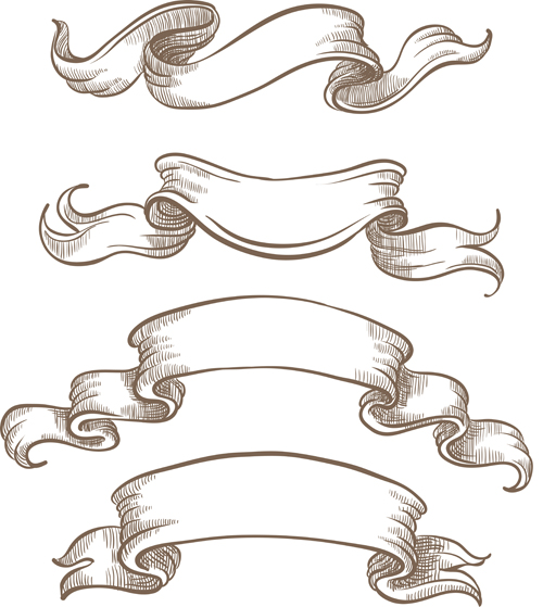 hand drawn vintage ribbon benner vector 06 free – over millions, Powerpoint templates