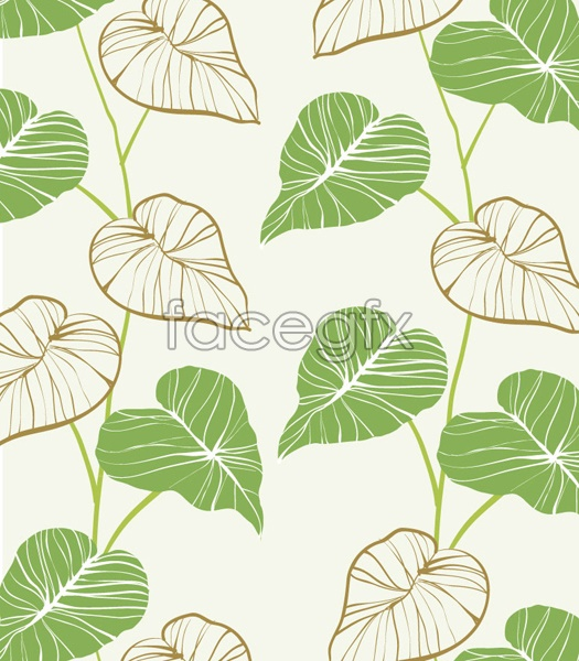 Hand-painted leaf illustrations vector