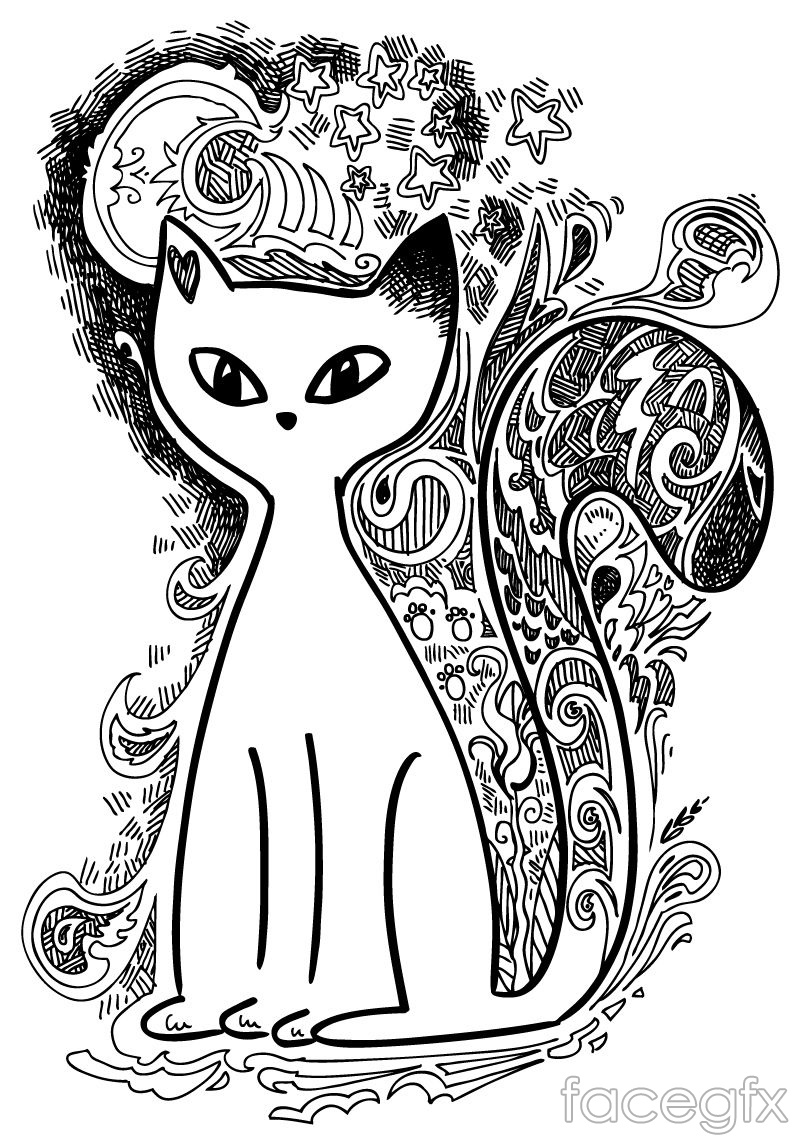 Hand-painted white cat background vector