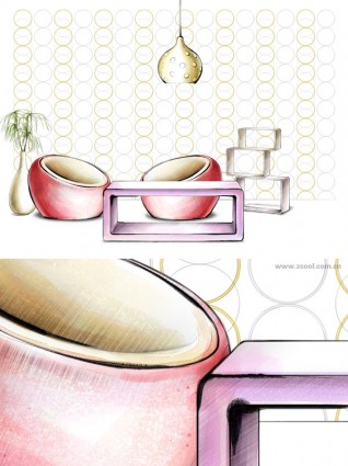 handdrawn style interior decoration psd layered images 40
