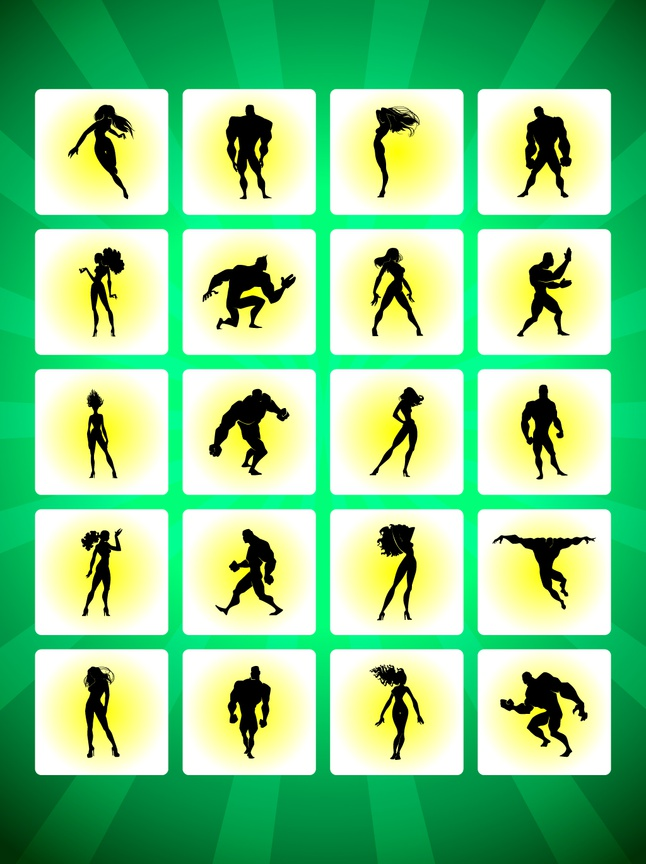 Heroes Silhouettes vector free