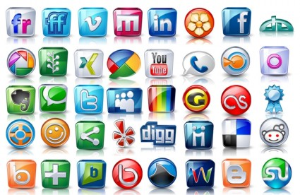 High detail social icons icons pack