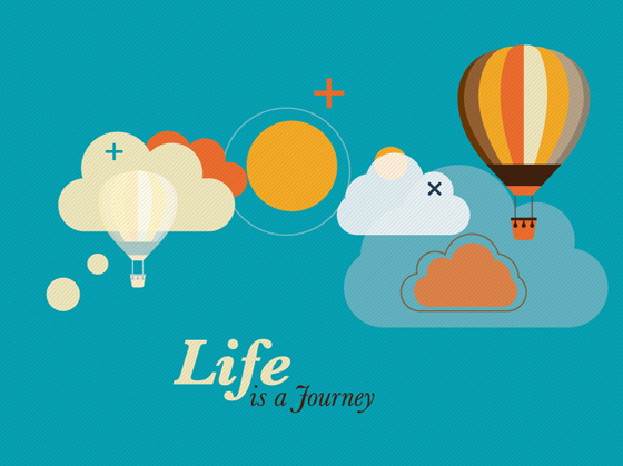 Hot air balloon and clouds creative vector free