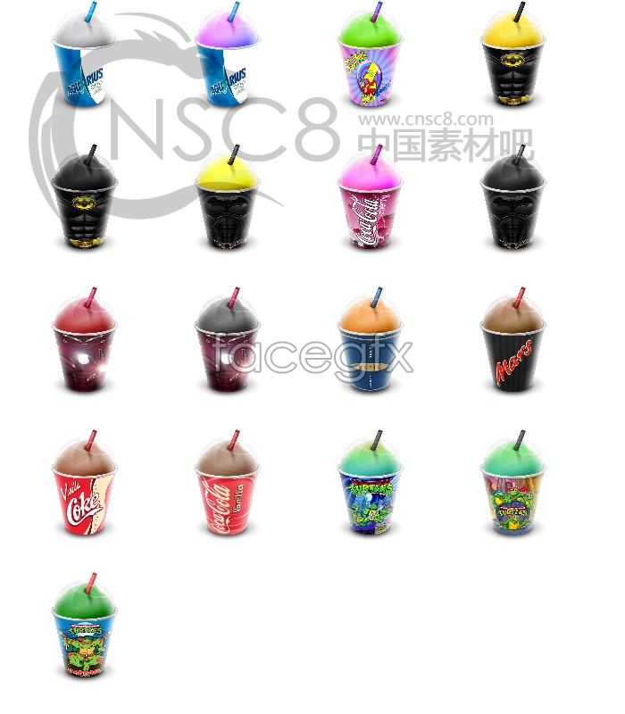Ice cream drinks desktop icons
