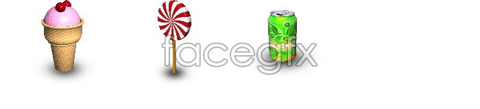 Ice cream soda candy stick icon