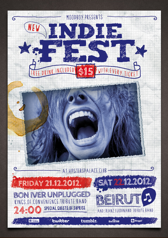 Indie Fest Handwritten Flyer Template