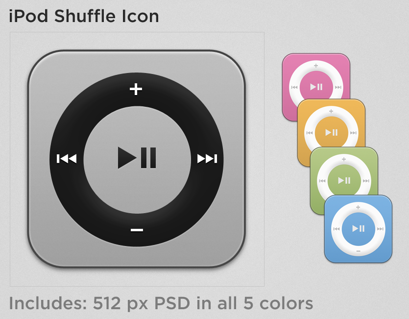 iPod Shuffle Icon PSD (all 5 colors)