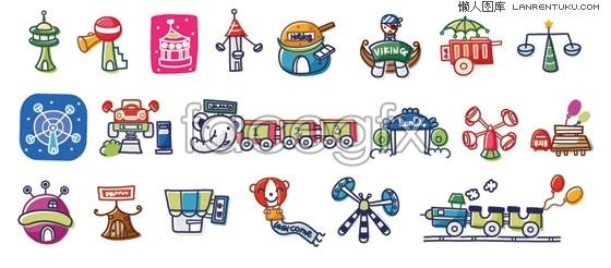 Korea amusement park cartoon vector elements – Over millions