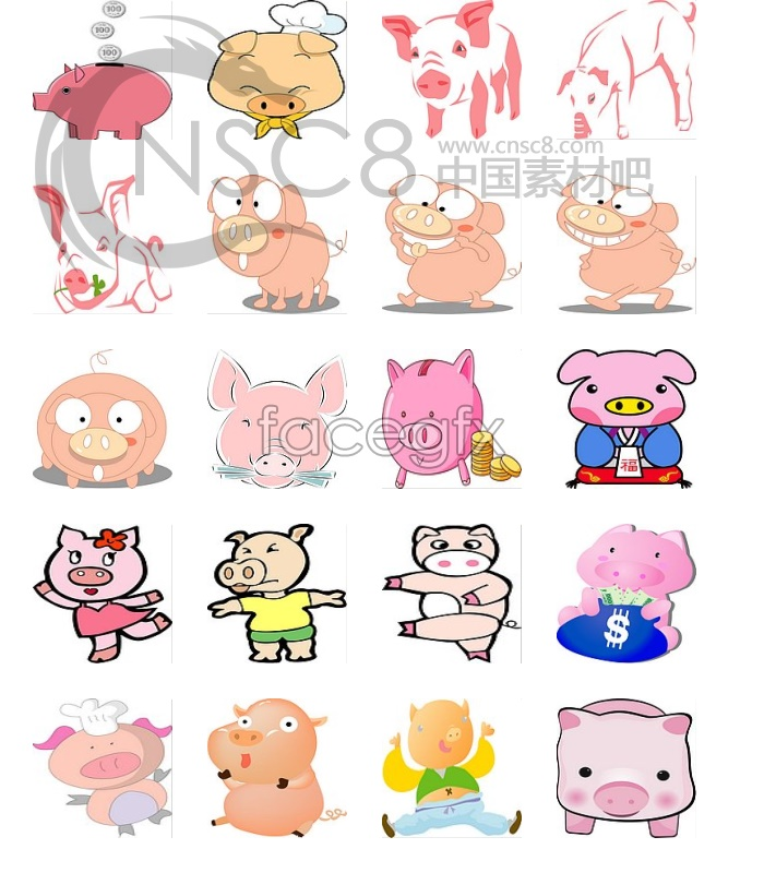 Korea pig Chinese zodiac series icons