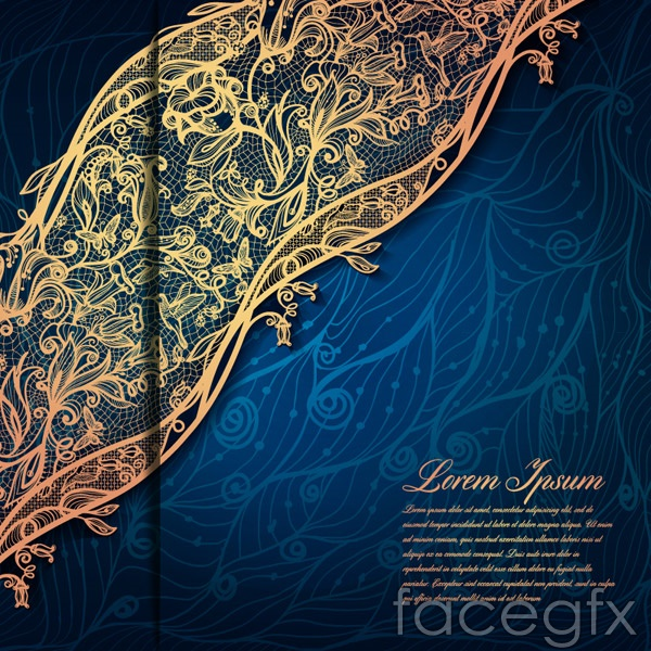Lace pattern blue background vector