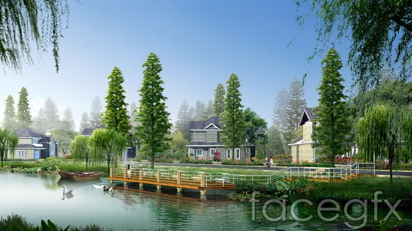 Landscape design renderings park lake villas psd – Over millions