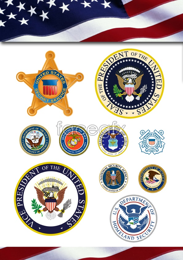 Law enforcement and military flags vector