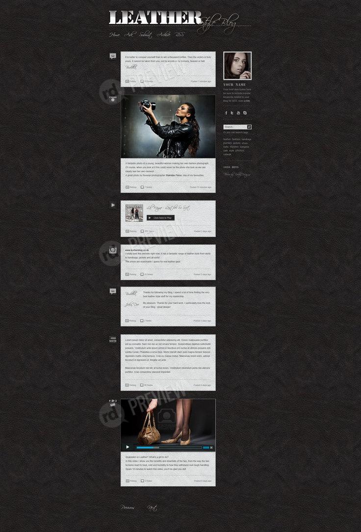 Leather Style Blog – Free Tumblr PSD