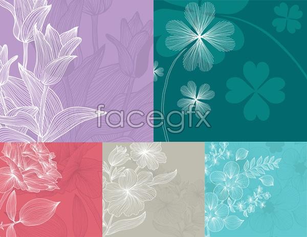 Line flowers vector