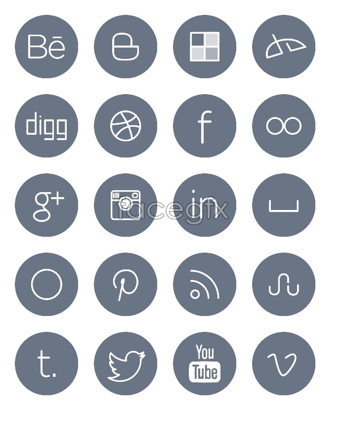 Line style social media icons