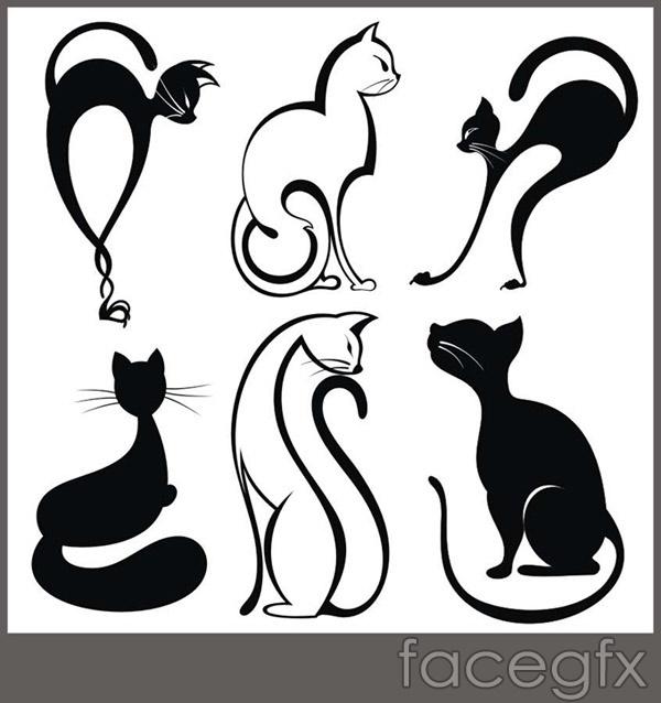 Linear fashion cat vector