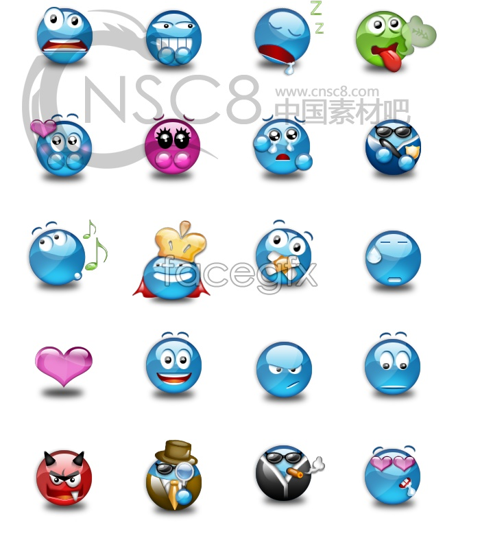 Lovely crystal emoticons