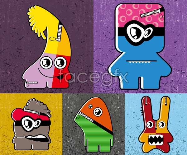 Lovely materialized cartoons vector