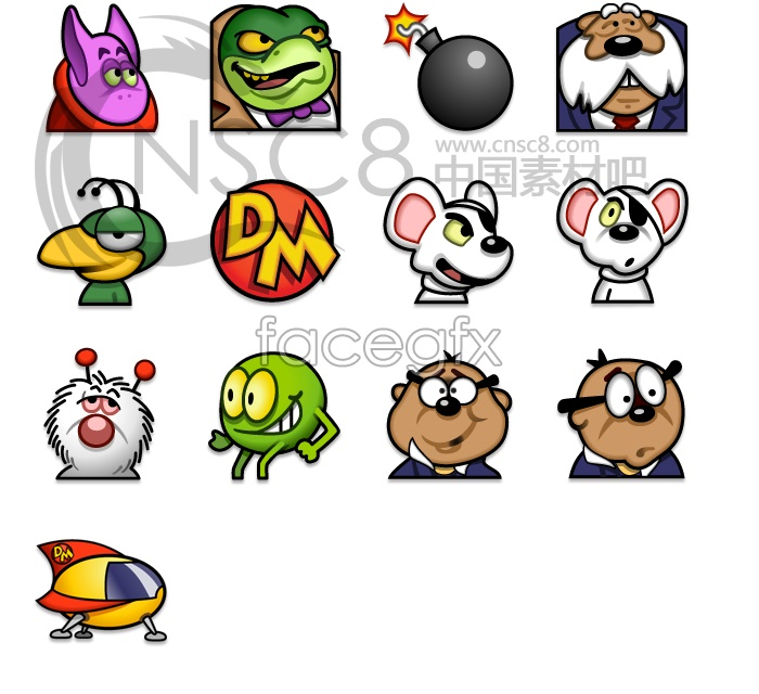 Machine mouse cartoon icons