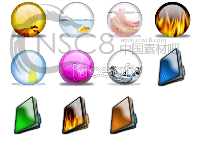 Magic crystal ball icons