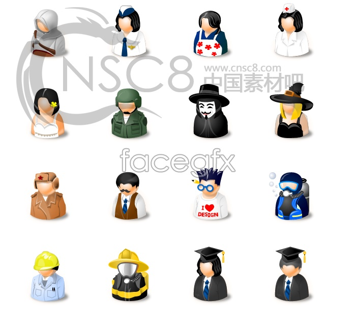 Many professional users icons