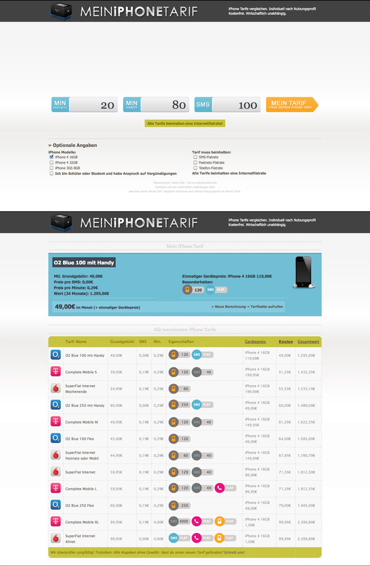 Mein iPhone Tarif – Projektpag