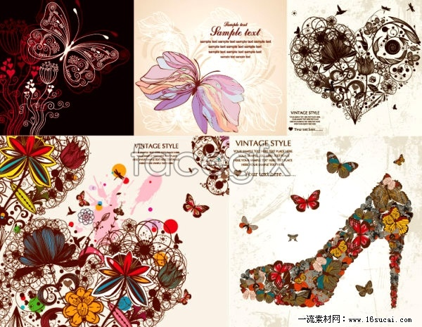 Messy consisting of hand-painted floral pattern vector