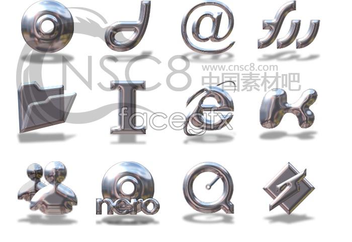 Metal shiny system icon
