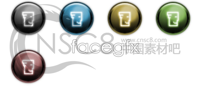 Metallic and colorful buttons icon