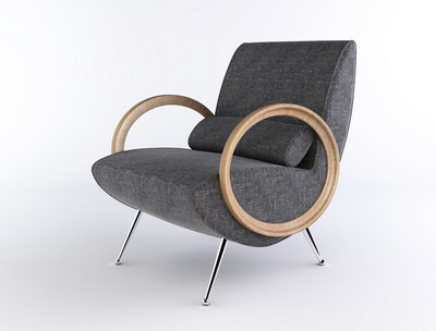 Modern Furniture Model�� Grey Lounge Armchair Livingroom Furniture 3D Model