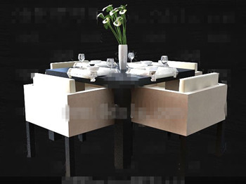 Modern Stylish Square Dining Table Combination 3D Model. Download ...