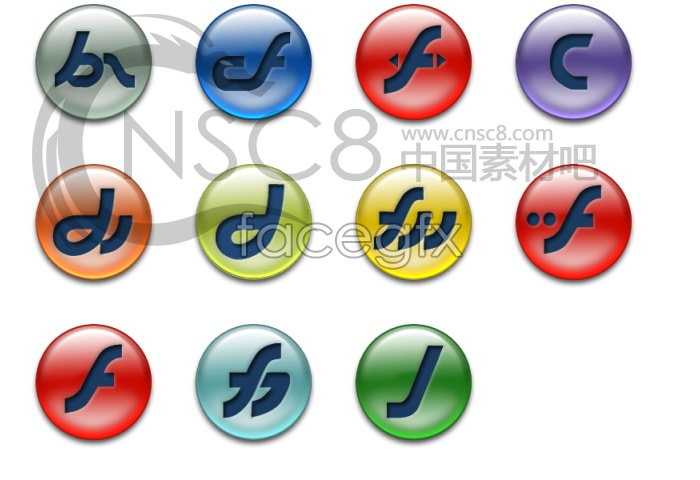 Multicolored buttons software application icons