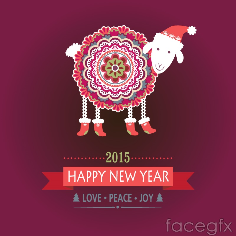 New year cartoon pattern sheep vector background