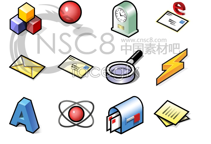 Objects and bright stereoscopic system icons