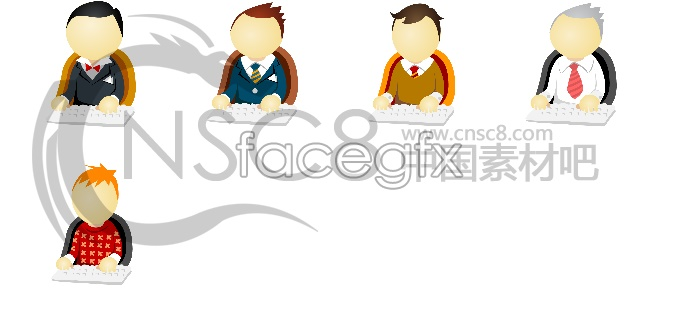 Office white collar icons