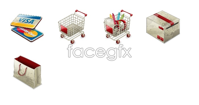 Online shopping tools icon cart
