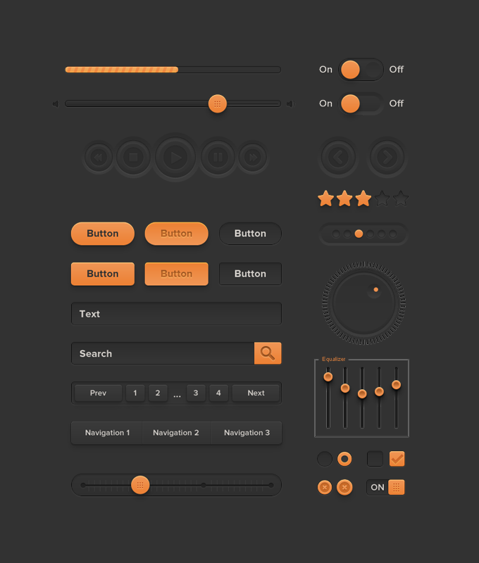 Orange UI Kit PSD