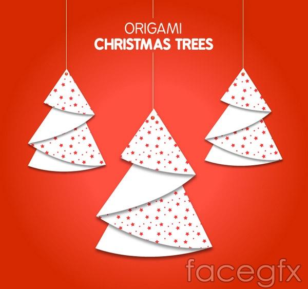 Origami Christmas Tree Ornaments Vector Over Millions Vectors