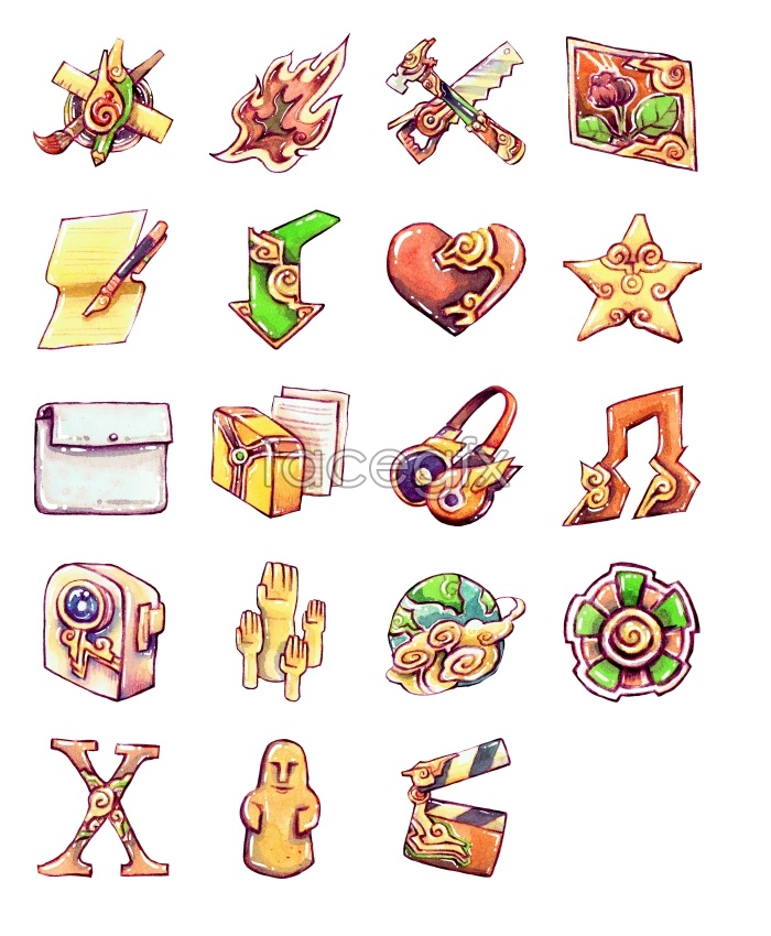 Painted cartoon computer icons
