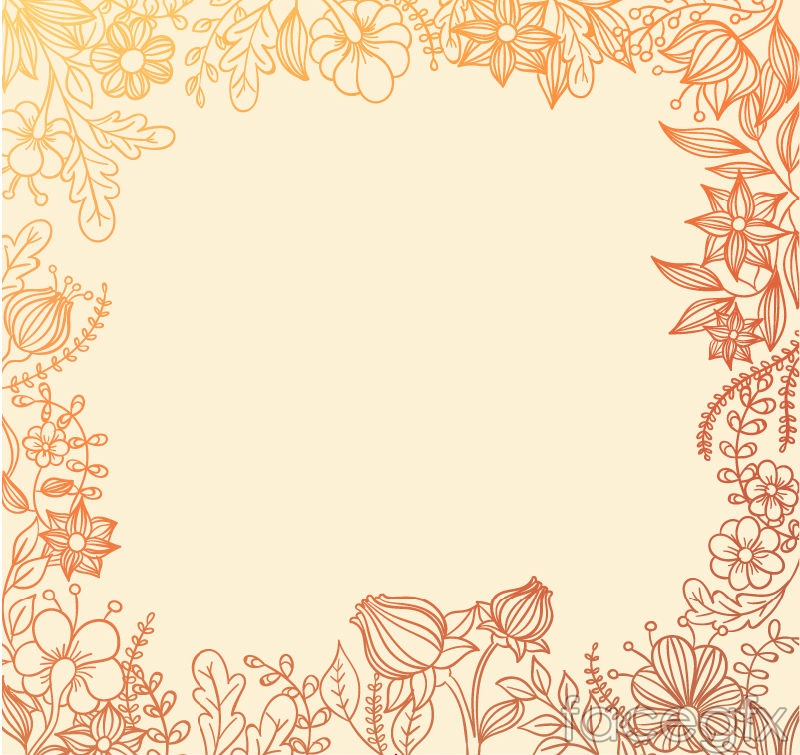 Painted Floral Border Background Vector