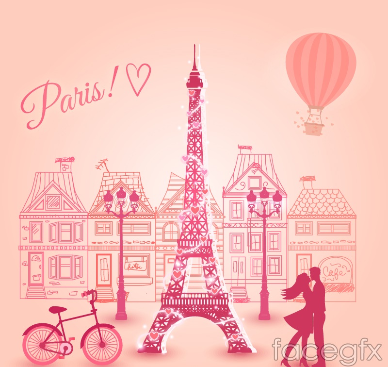 paris romantic pink vector illustration – over millions vectors, Modern powerpoint