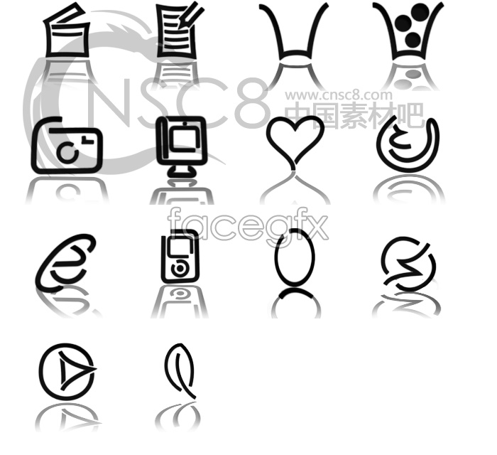 Personality reflection line icons