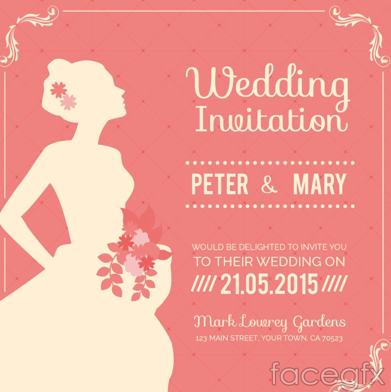 Pink bride wedding invitation card vector over millions vectors pink bride wedding invitation card vector stopboris Image collections