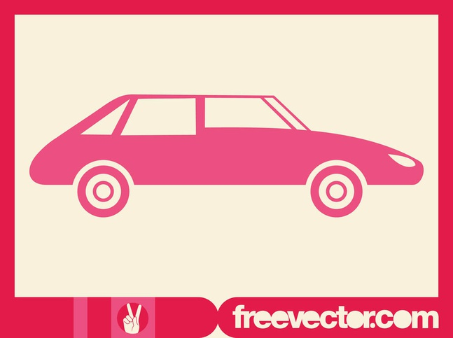 Pink Car Silhouette vector free