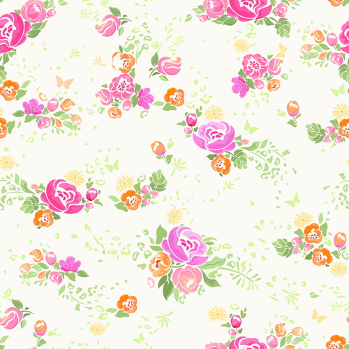 Pink flower vector seamless pattern 01 free