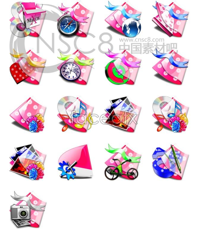 Pink folder icons