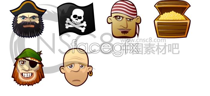 Pirates and treasure icon