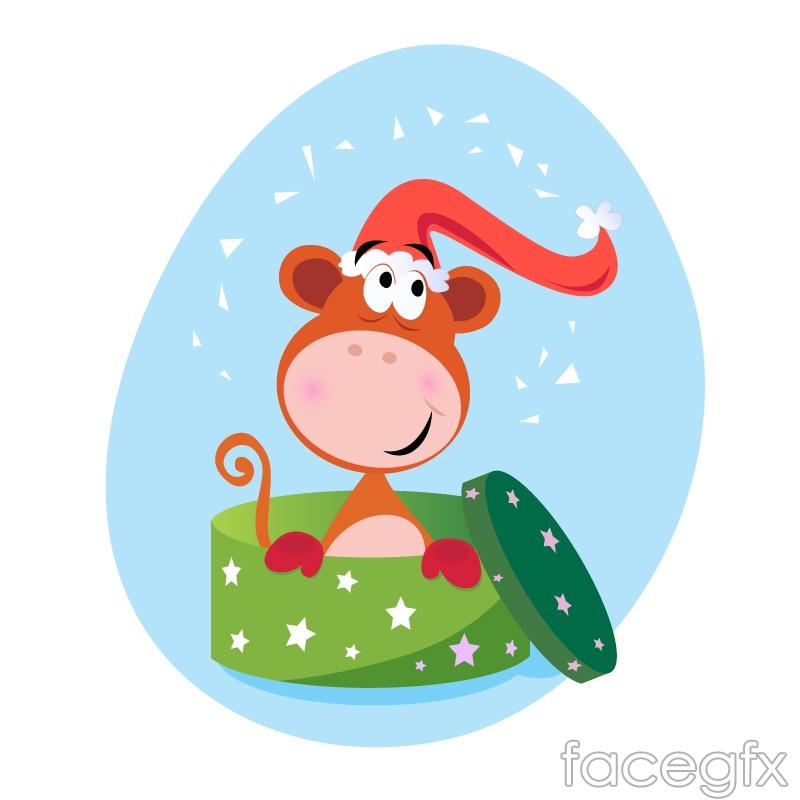 Playful monkey gift box vector