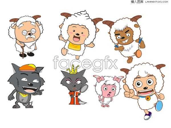 Pleasant goat and Gray Wolf cartoon vector